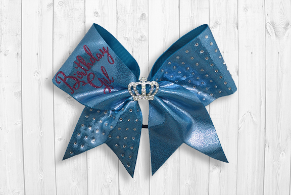 Blue birthday cheer bow