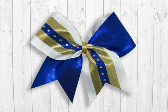 Blue gold cheer bow