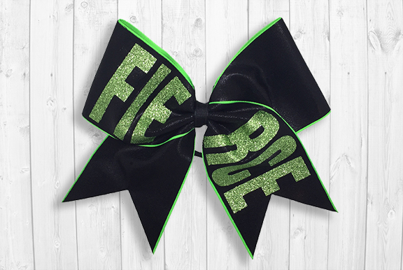 Black/green FIERCE cheer bow
