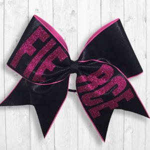 Black pink FIERCE cheer bow