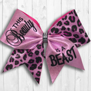 Pink beauty beast cheer bow