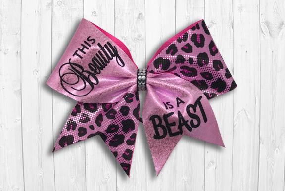 Pink beauty beast cheer bow
