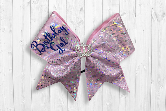 Pink birthday cheer bow