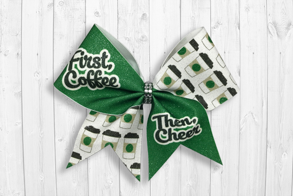 First Coffee Then Cheer bow