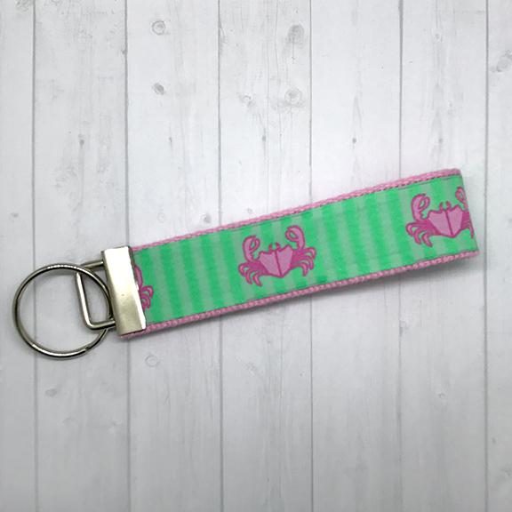 Pink crab keychain