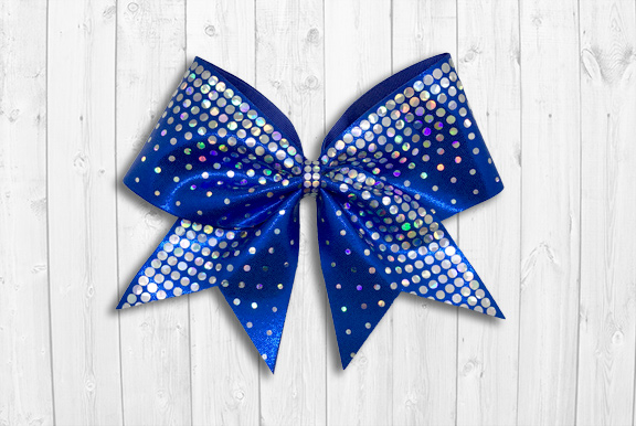 Blue cheer bow with holographic sequins