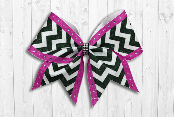 Chevron with pink stripe cheer bow