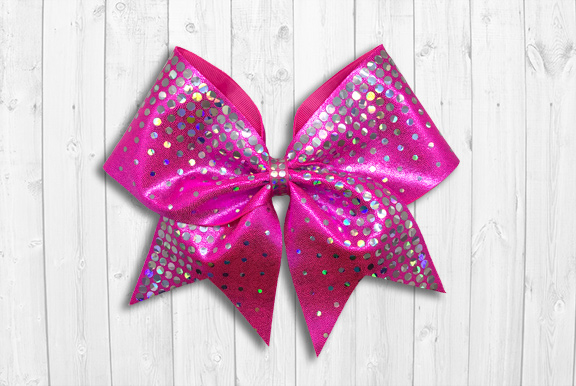 Pink cheer bow with holographic sequins