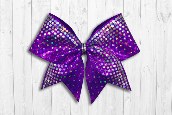 Purple cheer bow with holographic sequins