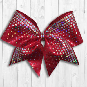 Red cheer bow with holographic sequins