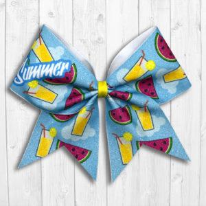 Summer watermelon and lemonade cheer bow