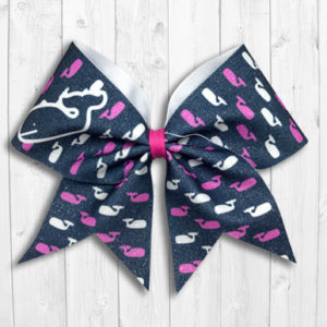 Glittery preppy whale cheer bow