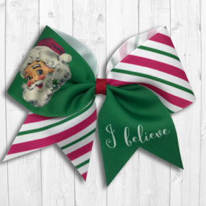 Vintage Santa Claus I Believe Cheer Bow