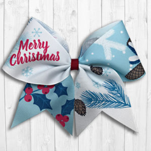 Pine and holly Christmas cheer bow