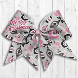 Pink Christmas ornaments cheer bow