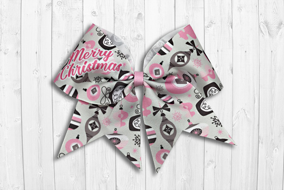 Pink Christmas ornaments cheer bow