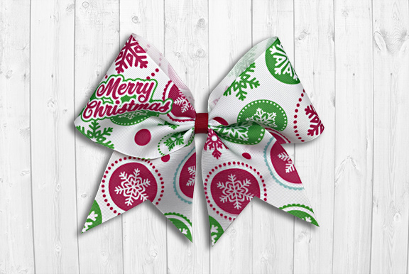graphic snowflakes christmas cheer bow