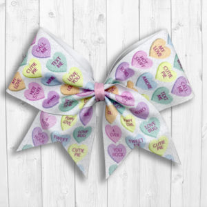 Candy Conversation Hearts Valentine's Day Cheer Bow