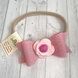 Felt flower headband with glitter bow