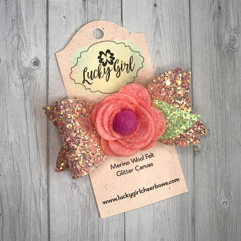 Modern bow with felt flower