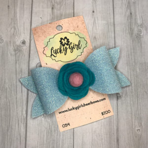 Modern bow with glitter and felt flower