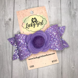 Modern bow, purple sparkle with felt flower