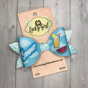 Modern bow with glittery summer graphics