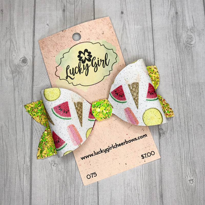 Modern bow with glittery summer treat graphics