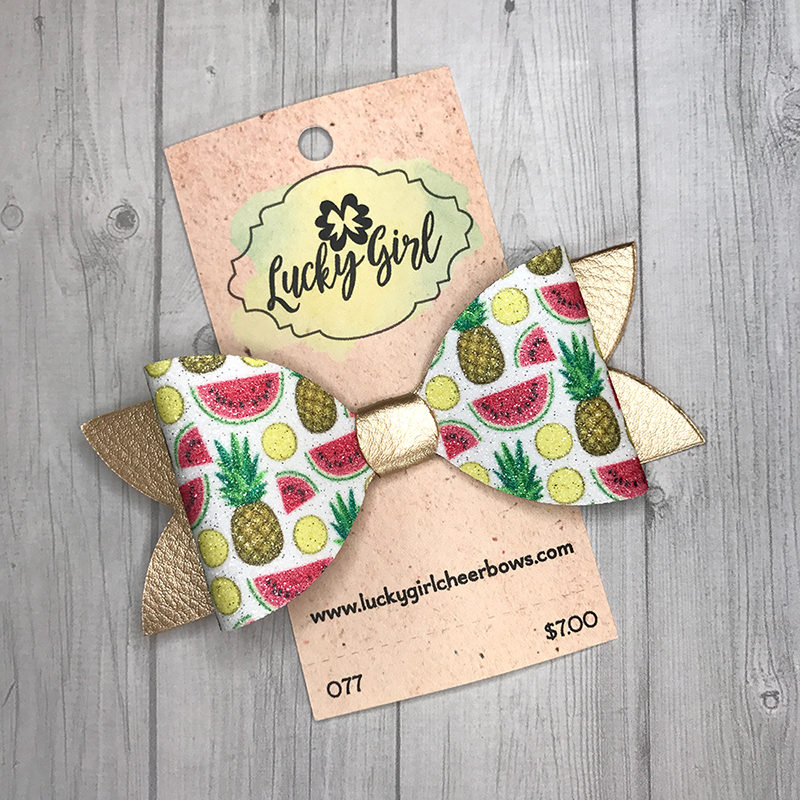 Modern bow with glittery fruit graphics
