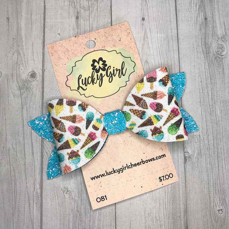 Modern bow with glittery ice cream graphics