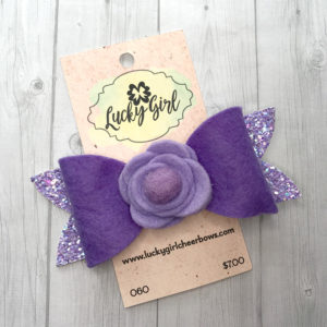 Modern bow with glitter and felt flower
