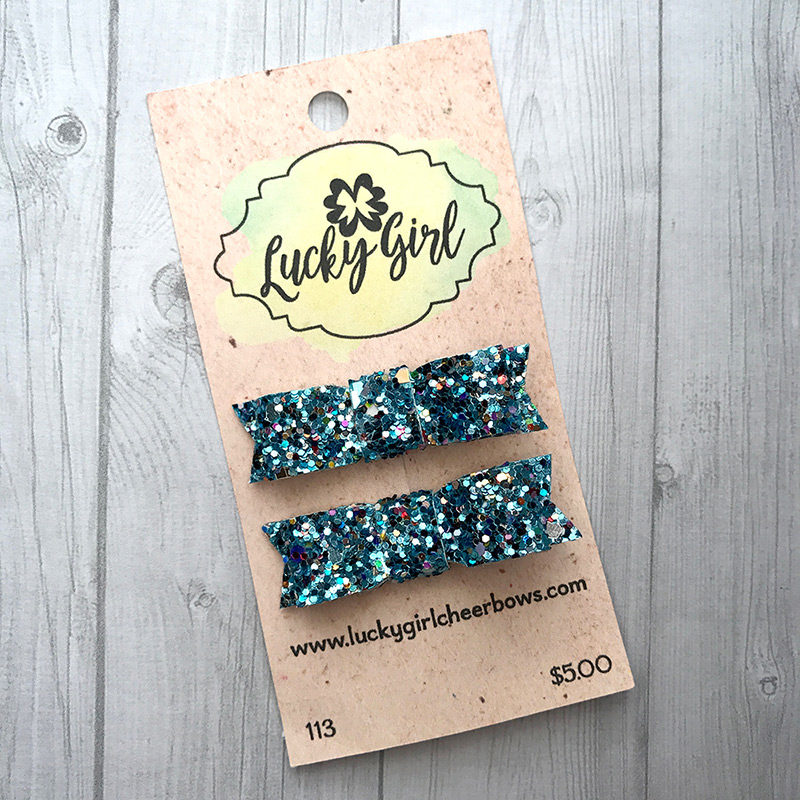 Modern bow clips with glitter