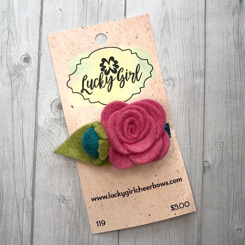 Modern bow clip with felt flower