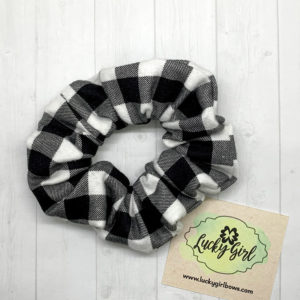 Black and White Check Flannel Scrunchie