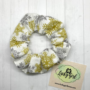 Silver and Gold Snowflake Scrunchie
