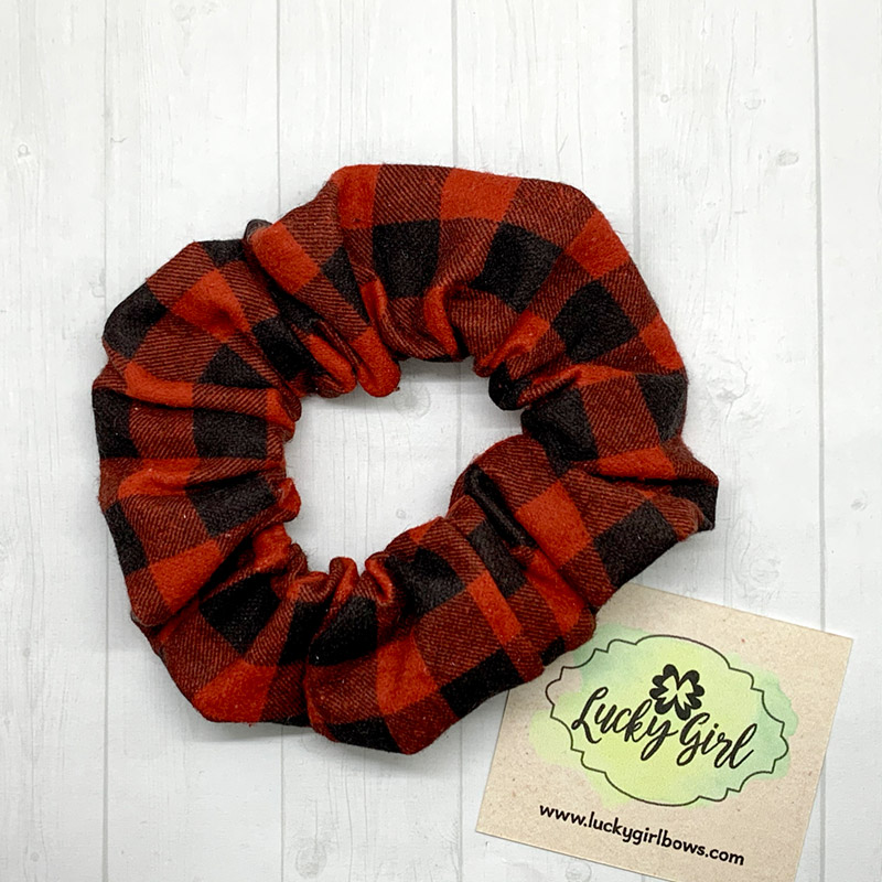 Black and Red Check Flannel Scrunchie