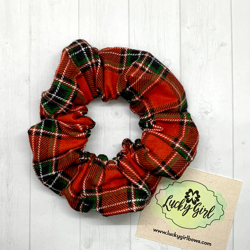 Christmas Plaid Flannel Scrunchie